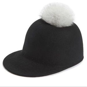 Halogen Black Jockey Cap w/ Pom Pom